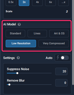 Topaz Gigapixel AIのAIモデルの選択