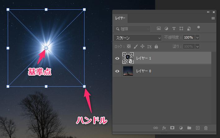 Photoshopの自由変形の操作画面