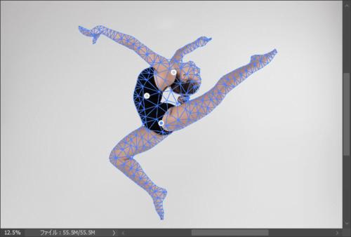 Photoshopのパペットワープでピンを打つ