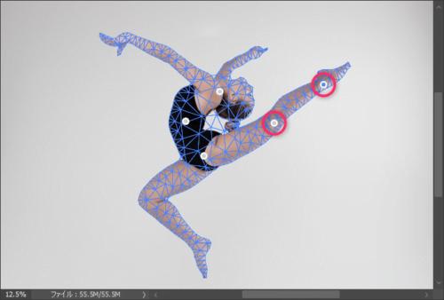 Photoshopのパペットワープのピンの打ち方
