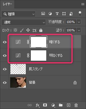Photoshopの調整レイヤートーンカーブ