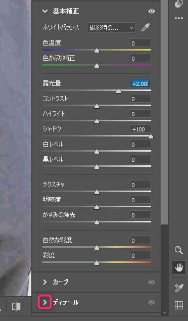 PhotoshopのCamera Raw フィルターのディテール